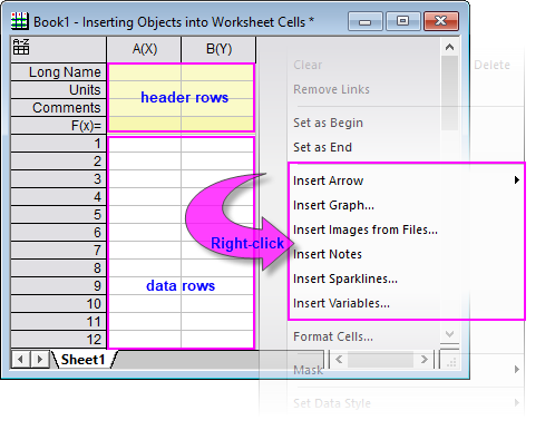 The following table lists things that can be inserted into worksheet ...