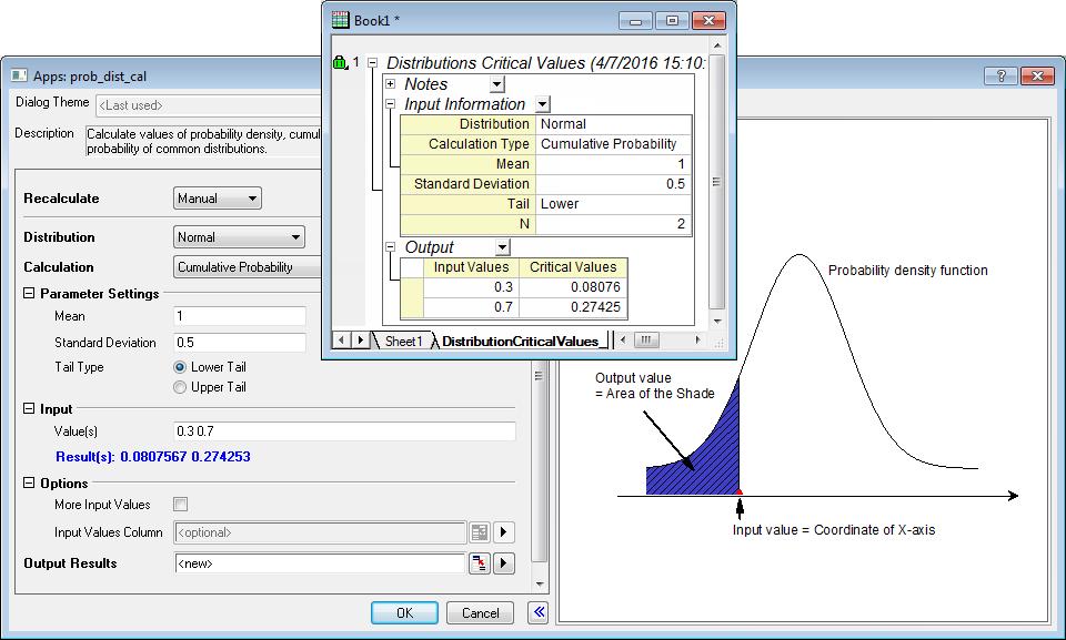 Probability Distribution Calculator - File Exchange - OriginLab