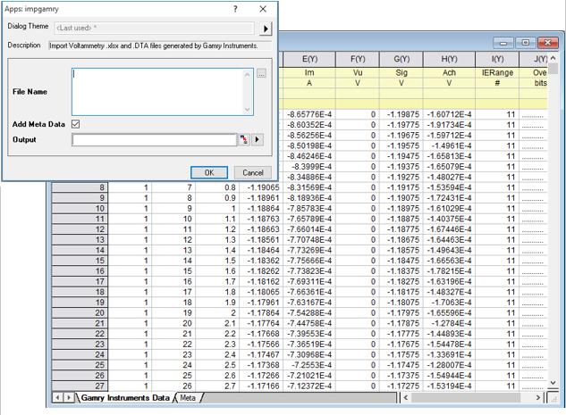 Import Gamry Voltammetry Files - File Exchange - OriginLab