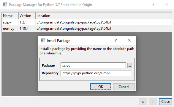 Package Manager for Python - File Exchange - OriginLab
