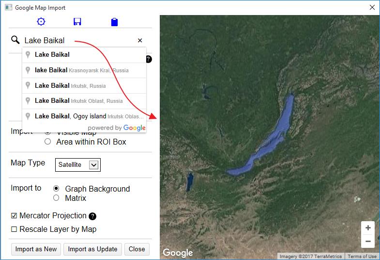 Google Map Import File Exchange OriginLab - Google map satellite zoom