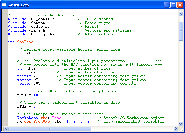 Ein beispiel von typischem origin c code mit syntaxkolorierung im code