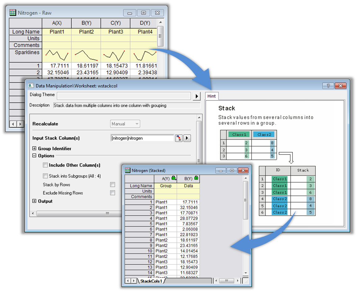 Data processing origin provides several tools for reorganizing your data such as stacking and unstacking columns and splitting or appending worksheets gamestrikefo Image collections