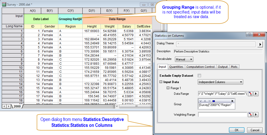 Raw data sets for statistics projects
